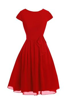Dora Bridal Womens Sleeves Knee Length Chiffon Mother Dresses 2016 Red * See this great product.