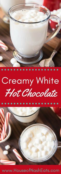 Say hello to the sweetest, creamiest way to warm up this winter! A delicious mug of Homemade White Hot Chocolate is a tasty treat and perfect for sipping when temperatures drop and the weather outside is frightful! #hotchocolate #winter #drink #marshmallows #cocoa #whitechocolate