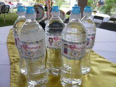 SJ water bottles labels - superhero party