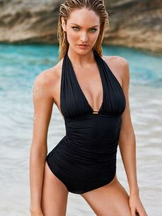 A plunging neckline means you don't have to do anything else. // Victoria's Secret One-Piece Swimsuit