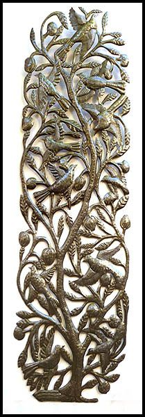 Dramatic Birds and Leaves Wall Design - Recycled Steel Oil Drum Metal Art from _ $99.95 - Steel Drum Metal Art from Haiti - Interior or Garden Décor * Found at www.HaitiMetalArt.com