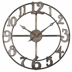 Delevan 32-inch Antiqued Silver Leaf Metal Wall Clock