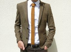 Skinny Knitted Tie in Golden Mustard Brown Lambswool - MADE TO ORDER. via Etsy.