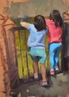 """Daily Paintworks - """"Hanging Over the Rails"""" - Original Fine Art for Sale - © Carol Marine Painting People, Figure Painting, Value In Art, Fine Art Auctions, Art Abstrait, Cool Paintings, Portrait, Artist Art, Figurative Art"""