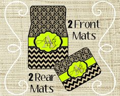 Custom Personalized Set of Car Floor Mats - Front and or Rear Back, Monogrammed Car Mats, Damask, Chevron Black Tan Lime