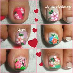 Decorados Pies Cute Toe Nails, Cute Toes, Toe Nail Art, Love Nails, Fun Nails, Pedicure Designs, Toe Nail Designs, Mani Pedi, Manicure And Pedicure