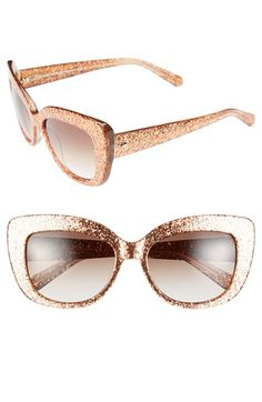 Rose gold glitter Kate Spade sunglasses