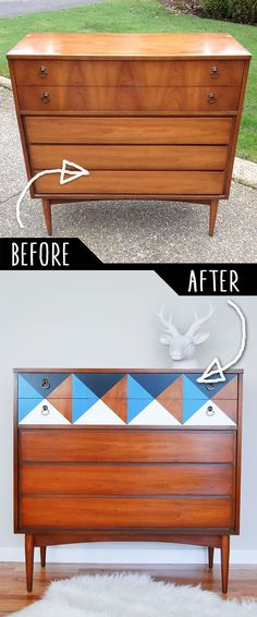 DIY Furniture Makeovers - Refurbished Furniture and Cool Painted Furniture Ideas for Thrift Store Furniture Makeover Projects | Coffee Tables, Dressers and Bedroom Decor, Kitchen |  Geometric Mid Century Dresser |  http://diyjoy.com/diy-furniture-makeovers