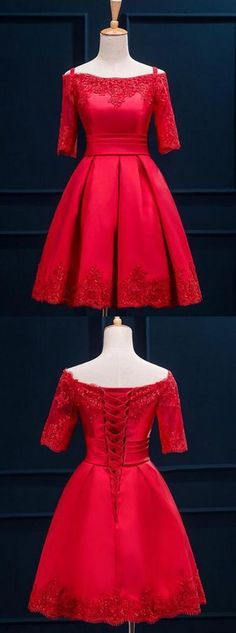 Red Homecoming Dresses,off the shoulder Homecoming Dresses,Simple Lace Homecoming Dresses,satin cocktail dress