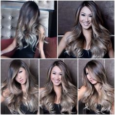 Perfectly melted ASH OMBRÈ: From dark ash brown to ash blonde ends. Hair by GUY TANG !