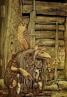Troll Witch with Owl by Brian Froud. I Love his Art. Brian Froud, Fantasy Magic, Fantasy World, Dark Fantasy, Fantasy Art, Baba Yaga, Magical Creatures, Fantasy Creatures, Illustrations