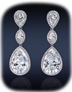 Jacob & Co. - Fine Jewelry - Royal Collection - Drop Diamond Earrings, Composed Four GIA Certified 7.50-7.42 Ct. 1.04-1.01 Ct. G-H Color, VS1-SI1 Pear Shape Diamonds Surmounted By 3.11 Ct. G-H Color, VS2-SI1 Marquise Cut Diamonds (Two Stones), Framed By 2.11 Ct. Micro-Pave' Set White Diamonds, Mounted In Platinum