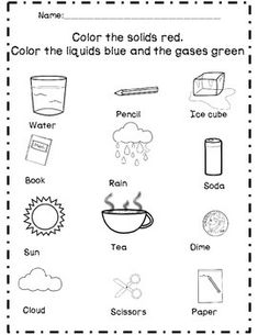 States of Matter: Solids, Liquids, & Gas Unit by The First Grade Flair States Of Matter Worksheet, Matter Worksheets, Science Worksheets, Science Lessons, Worksheets For Kids, Science Experiments, Kindergarten Science, Primary Science, Teaching Science