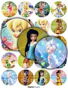 "Disney Fairies Printable Digital Collage Sheet Circles 1/2"" 1"" 1,5"" 2"" (12mm 20mm 25mm 38mm 50mm) Tinkerbell, Silvermist, Periwinkle, Zarina, Rosetta, Rani, Vidia, Iridessa, Lily, Fira, Fawn, Bess, Beck and others"