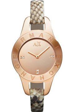 Rose Gold Snake Embossed Skinny Watch - Armani Exchange
