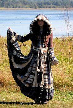 Ready Now recycled sweater coat Elf fairy maiden Earthtone gypsy  dream traveling patchwork  Katwise style forest upcycled. $544.44, via Etsy.