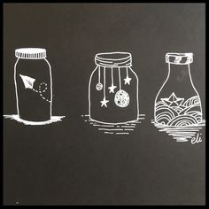 Day 76 of my #365daysofart a black and white doodle of cut things in jars, including illustrations of space, waves and a paper airplane. Join me for 365 Days of Art, where I have a go at a whole year's worth of art ideas. Filling my sketchbook to the brim with inspiration, crafts, doodles and drawings. Challenged yourself with me, or just get some great art ideas for a one-off project