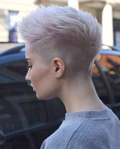 spiky pixie cut with cotton candy pink color