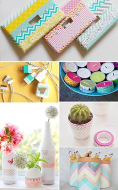 Diy with washi tape Kids Crafts, Diy And Crafts Sewing, Diy Crafts Videos, Crafts For Teens, Craft Tutorials, Easter Crafts, Crafts To Sell, Cinta Washi, Do It Yourself Decoration