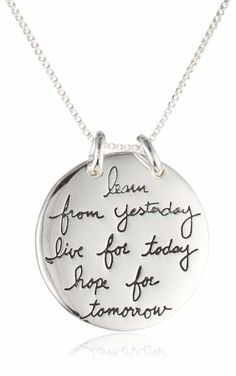"""Sterling Silver """"Live The Life You Love"""" Reversible Pendant Necklace, 18"""""""