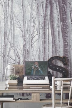Envious of beautiful workspaces and desk areas? Keep it minimal with this beautiful forest wallpaper design. This charming forest landscape boasts an overall white theme, leaving your interiors feeling bright and airy. What a wonderful space to clear your thoughts and get down to work!