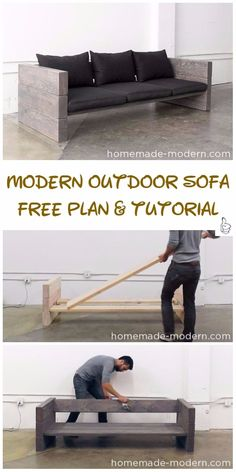 DIY Outdoor Seating Projects Tutorials - DIY Modern Outdoor Sofa Tutorial Outdoor Living Rooms, Modern Outdoor Sofas, Outdoor Couch, Outdoor Seating, Outdoor Decor, Diy Patio Furniture Cheap, Deck Furniture Layout, Garden Furniture, Cheap Home Decor