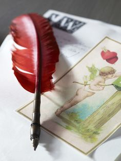 ❥ red feather pen