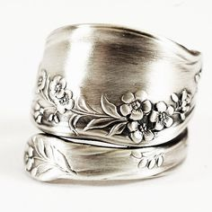 Forget Me Not Ring Vintage Flower Ring Sterling Silver by Spoonier