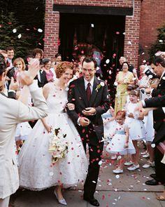a confetti shower, post-ceremony
