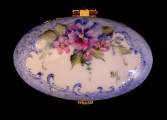 Signed Hand Painted Hinged Floral Design with Pansy and