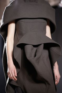 Sculptural Fashion - structured dress with soft construction; creative fashion design // Rick Owens Fall 2015