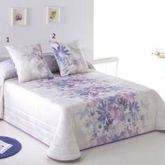 Colcha Bouti DAPHNE JVR. Colcha para las chicas más románticas con flores en tonos blanco y malva. #decoracion #dormitorio #bedroom