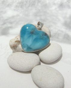 Larimar heart pendant, Reef of Love - wonderful translucent aqua teal Larimar gemstone - truly handmade jewelry