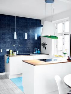 Hues of blue in a family home in Brønshøj - via cocolapinedesign.com