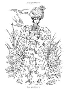 Dover Creative Haven Art Nouveau Fashions Coloring Book Adult Ming Ju