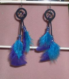 Blue and Purple Dream Catcher Earrings 40 by TheCraftyCuban, $30.00