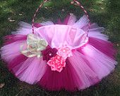 Easter Basket with Pink Tutu, Ribboned Handle, and Handmade silk Flowers