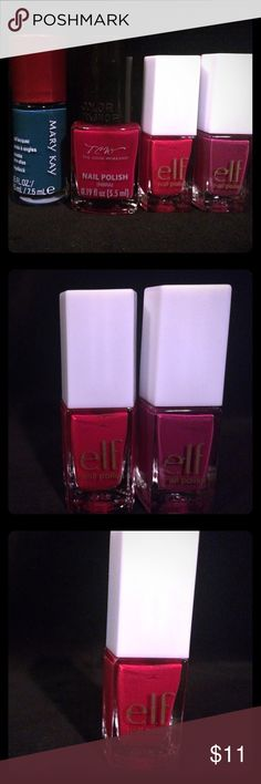"""🔹New Nail Polish Bundle COLOR: teal """"Tempting Teal""""; red; purple """"Purple Pleaser""""; red """"Smokin' Hot""""  FEATURES: one mary kay; one tcw; two elf  CONDITION: NWOT; unopened  DAMAGE: none ELF Other"""