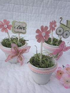 Free Shipping  Baby Shower Centerpieces. $22.00, via Etsy.    These would be cute with the candy mold suckers.