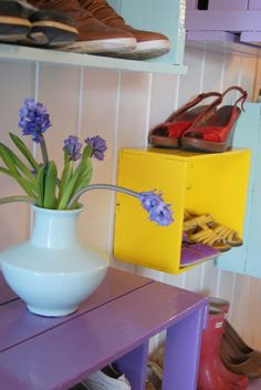 Painted crate shoe storage