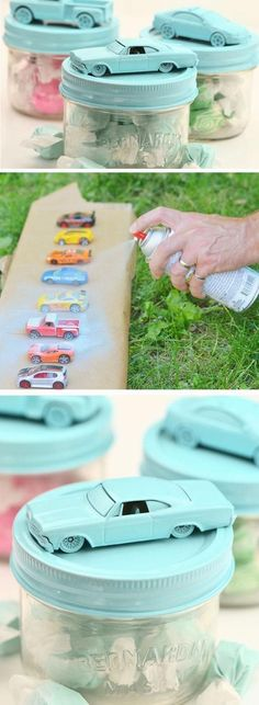 Dinky Car Treat Jars 21 DIY Baby Shower Party Ideas for Boys that will make you go goo goo! Baby Shower Cakes, Décoration Baby Shower, Fiesta Baby Shower, Baby Shower Gender Reveal, Shower Party, Baby Shower Parties, Baby Shower Themes, Shower Games, Baby Shower For Boys