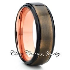 Rose Tungsten Ring Brushed Unique Ring Comfort Fit