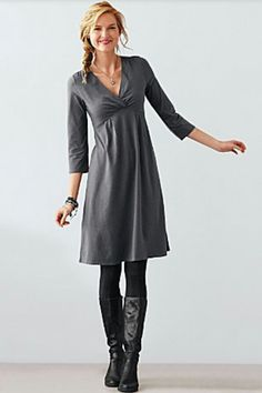 Love the style of this dress. I wear leggings and boots often