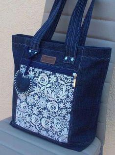 Denim Handbags, Denim Tote Bags, Denim Purse, Denim Jeans, Fabric Handbags, Blue Jeans, Patchwork Bags, Quilted Bag, Patchwork Quilting