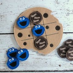Cookie Monster Tic Tac Toe ITH Embroidery Design