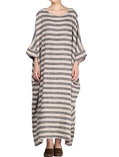 """Mordenmiss Women's New Round Collar Stripes Plus Size Dresses Style 1-Large Gray. 55% Linen,45% Cotton. Round collar,two side pockets,suitable for any occasions,casual,party,working etc. Style:PLUS SIZE design,the difference of the size M and L is the Length. Machine Washable Softly. PLS read the size details on Product Description, not the Amazon Size Chart beside the """"size option""""."""