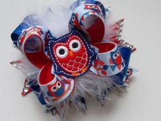 Over the Top Red White and Blue Bow American Flag Bows Patriotic Outfits Fourth of July Hair Bows Felt Owls by ransomletterhandmade, $15.00