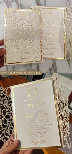 ivory and champagne gold laser cut wedding invites