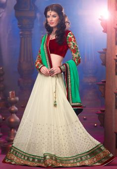 Beautiful Cream Faux Georgette #Lehenga, colorful Choli with velvet bodice and embroidered sleeves