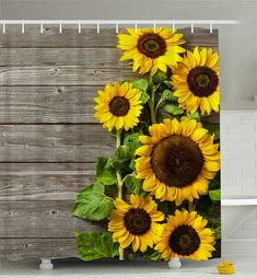 NYMB Sunflower Shower Curtain Printing, Spring Field Rustic Flowers on Country Wooden Board,Fabric Bathroom Decorations, Bath Curtains Hooks Included, Inches(Yellow Green) Shower Curtain Sets, Fabric Shower Curtains, Bathroom Shower Curtains, Drapes Curtains, Rustic Bathroom Makeover, Classroom Curtains, Fish Net Decor, Sunflower Bathroom, Painting Shower